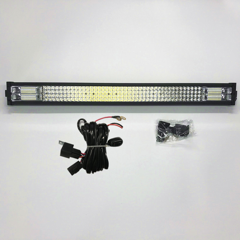 32 inch quad-rows 12v24v waterproof Driving car LED light bar for 4x4 offroad car truck car
